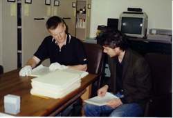 Billy Bragg and Jeff Tweddy researching in the Archives, Courtesy of Woody Guthrie Foundation and Archives